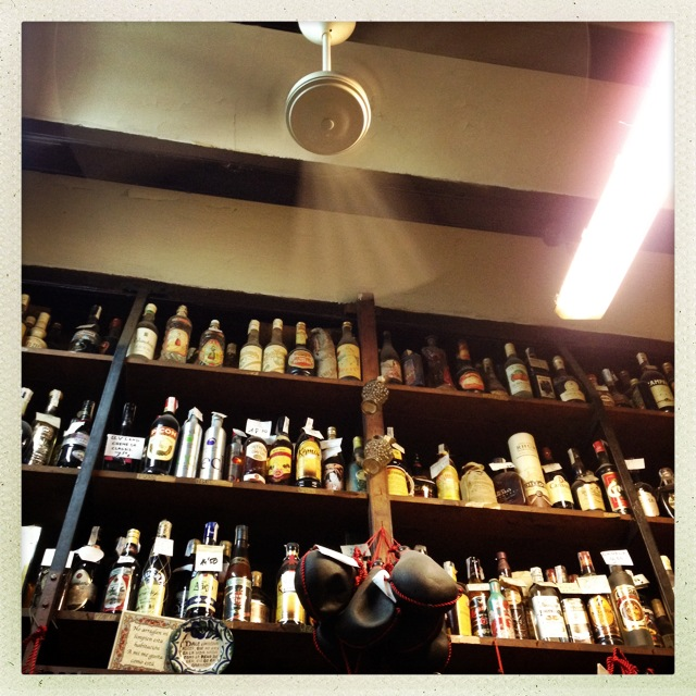 Inside the Bodega you find all kind of wine and spirits from the last 100 years