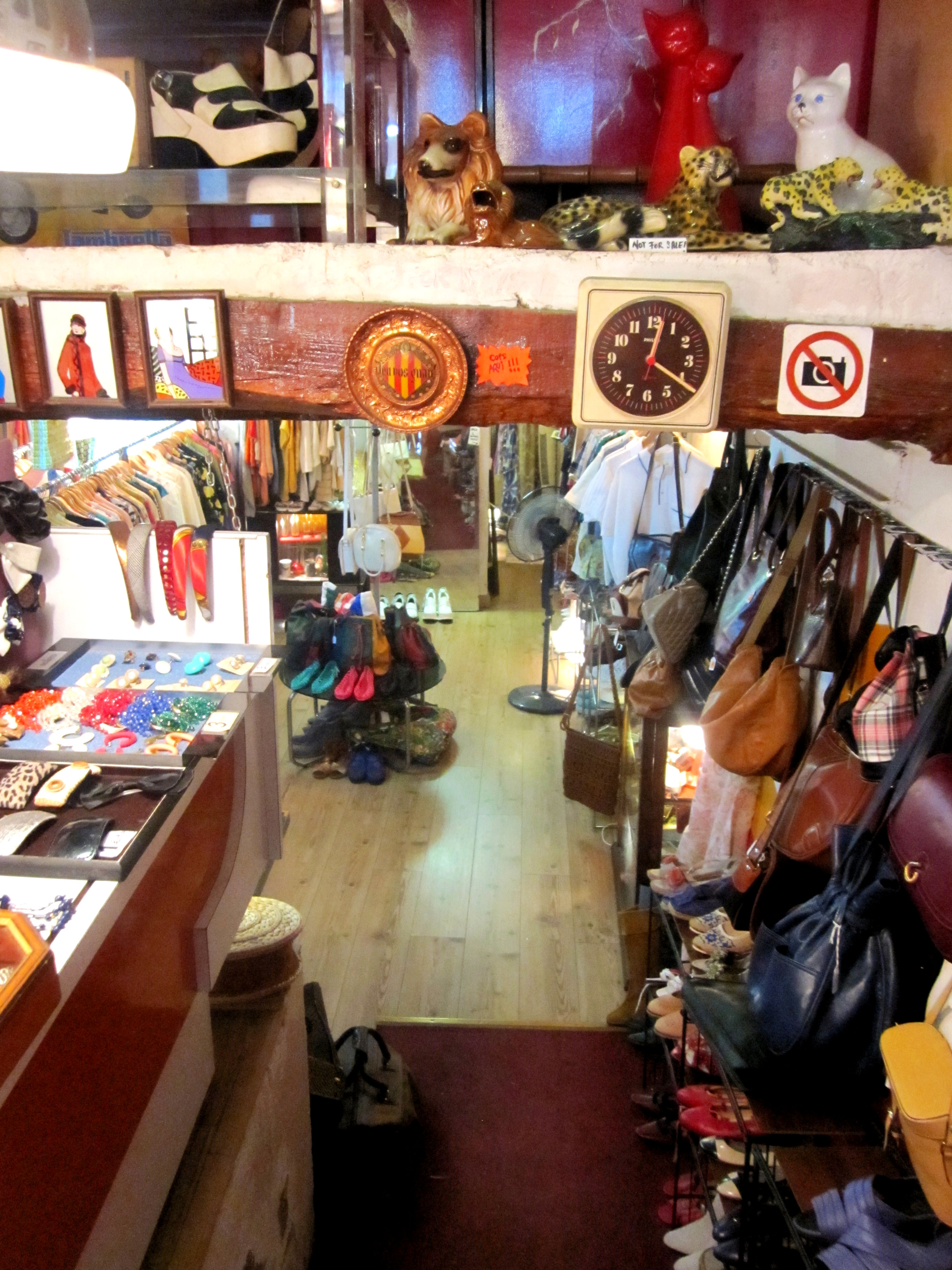 Inside the shops you can spend hours rummaging in the retro clothes