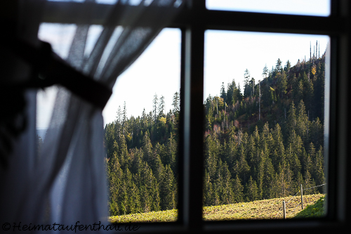 Durch die kleinen Fenster kann man in die tiefen Wälder des Hochschwarzwaldes blicken..